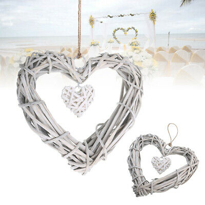 Love Heart Shape Wicker Chic Wreath Hanging Wedding Birthday Party Home Decor • 2.99£