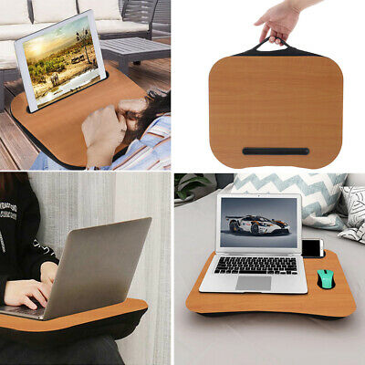 Portable Wood Cushioned Laptop Tray Table Books Tablet Slot Knee Desk Nap Pillow • 14.95£