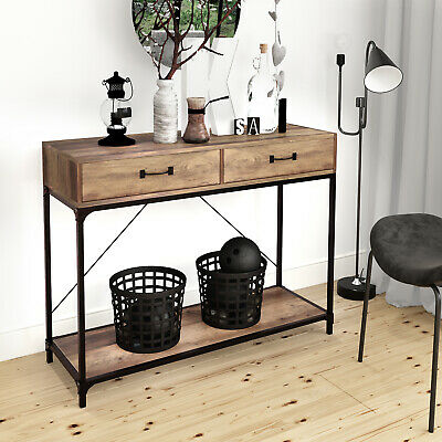 Industrial Console Table Vintage Sideboard Cabinet Rustic Metal Hall Display • 78.90£