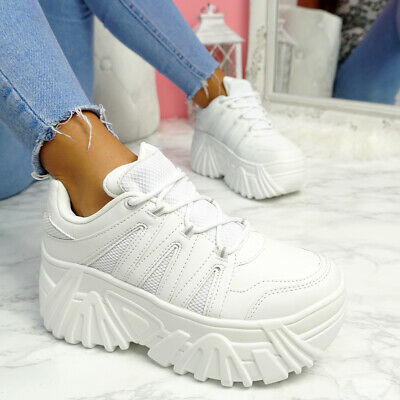 Womens Ladies Lace Up Chunky Platform Trainers Women Sneakers Party Shoes Size • 22.99£