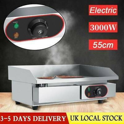 Electric Countertop Griddle Commercial Kitchen Hot Plate Bacon Grill Stainless • 68.89£