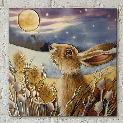 £22.95 • Buy Ceramic Picture Tile  MOONGAZING HARE  By Judith Yates Wall Art 8  X 8  Boxed