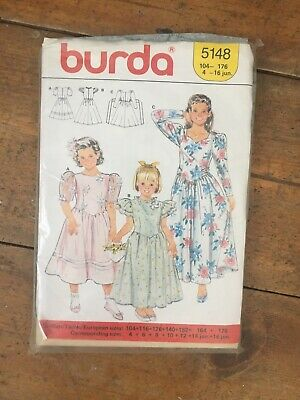 Burda 5148 Girls Bridesmaid Or Party Dress Pattern Complete Ages 4-16 • 2.50£