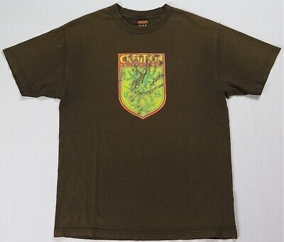AU28.97 • Buy Rare Vintage CREATION Clothing Skateboards Spell Out Shield T Shirt 90s 2000s L