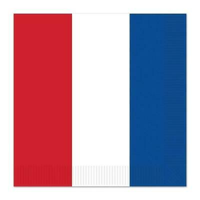 British French Paper Serviettes Pack Of 16 2 Ply Napkins In Red White & Blue • 4.99£