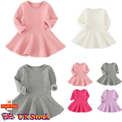 Toddler Girls Baby Kids Dress Princess Party Cotton Dresses Long Sleeve Clothes • 6.99£