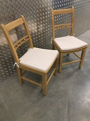2x Neptune Suffolk Kitchen Dining Room Chairs In Natural Oak + Cushions RRP£670 • 495£