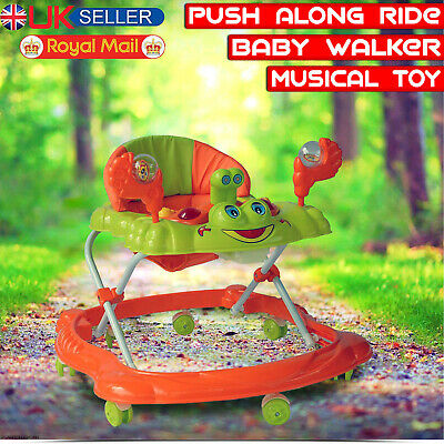 Baby Walker First Steps Push Along Bouncer Activity Music Ride Car On Toy Music • 26.99£