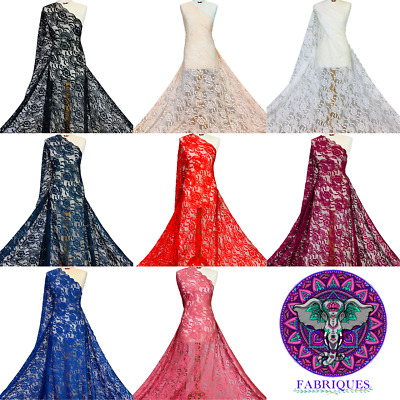 Crochet Lace Fabric Floral 4 Way Stretch Scalloped Edges Premium Bridal Material • 7£