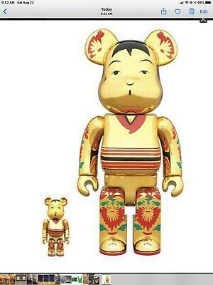 $165 • Buy Be@rbrick Kokeburick Gold Plated 400% & 100% New Sealed Box