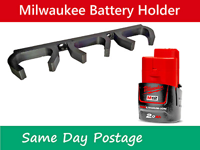AU8.99 • Buy Milwaukee M12 Battery Holder -  12V Tool Wall Mount Brackets Storage