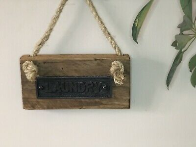 LAUNDRY Reclaimed Wood Cast Iron Hanging Plaque SIGN For Home And Garden • 20£
