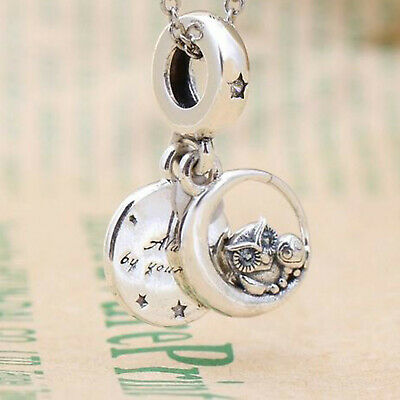 GENUINE .925 STERLING SILVER ALWAYS BY YOUR SIDE OWL Pendant Dangle CHARM BEAD • 11.95£