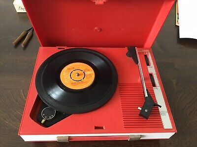 Fidelity Record Player 60's Red & White Fully Working WITH 45's V Good Condition • 45£