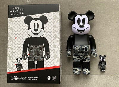 $350 • Buy Medicom Toy BE@RBRICK BAPE(R) MICKEY MOUSE MONOTONE Ver. 100% & 400% Japan New