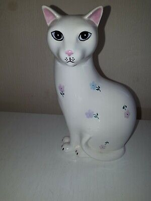 Poole Pottery White Floral Cat 7  Tall Lovely Gift • 40£