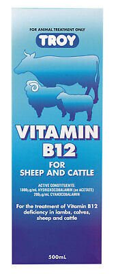 AU79.99 • Buy Troy Vitamin B12 Injection 500ml Lambs,Claves,Sheep And Cattle