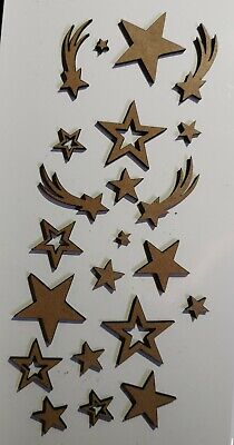 £1.99 • Buy Wooden MDF Stars Shapes Craft X22 Embellishments Mixed Sizes See Description