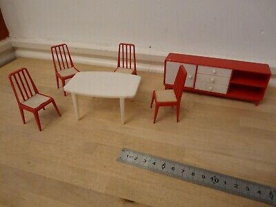 RETRO Dolls House Furniture Table, Chairs, Sideboard VGC JEAN W Germany  • 9.99£