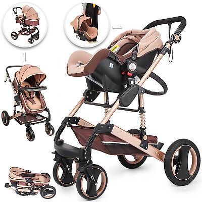 AU279.98 • Buy Luxury Baby Stroller 3 In 1 Pushchair Foldable Buggy Infant Travel With Car Seat