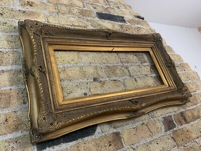 Rococo / Baroque Gold Gilt & Gesso Detail Wooden Picture Frame, Chunky, Large • 88£