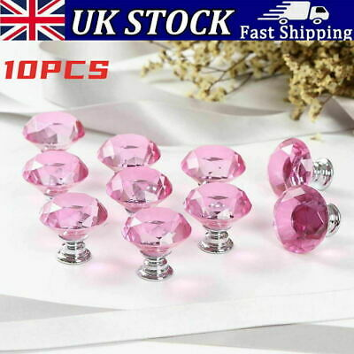 10Pcs Door Knobs Pink Crystal Diamond Glass Cupboard Drawer Handle Cabinet Knob • 6.99£