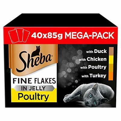 Sheba Fine Flakes In Jelly, Poultry Collection, Wet Cat Food Pouches For Adult • 13.43£