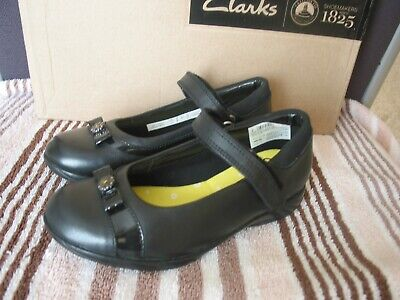 New Clarks Daisy Locket Black Leather Girls School Shoes Various Sizes • 22.99£