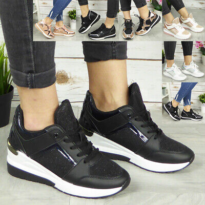 Ladies Wedge Trainers Womens Sneakers Lace Up Comfy Classic Bling Pumps Shoes • 17.99£
