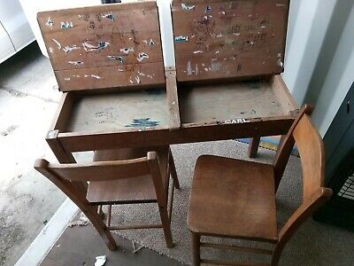 Vintage Twin School Desk And 2 Chairs • 95£