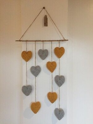 Hanging Gray & Mustard Wool Wrap Love Hearts Home Wall Art, Handmade Unique Gift • 13.99£
