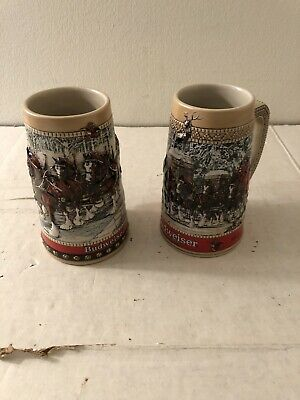 $ CDN32.94 • Buy Lot Of 2 Budweiser Clydesdale's Holiday Beer Steins 1988 &  C Series Mugs
