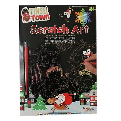 Christmas Scratch Art Engraving Kit With Rainbow Foil Board • 2.49£