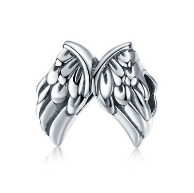 AU25.99 • Buy SOLID Sterling Silver Angel Wings Feathers Charm By Pandora's Wish