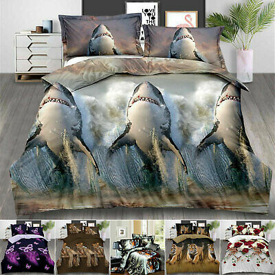 3D Duvet Cover With Pillow Cases Single Double King Size Quilt Cover Bedding Set • 24.99£