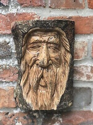 Green Man Wooden Carving - Large Half Tree Log 24cm. Hand Made. Garden /Interior • 22.99£