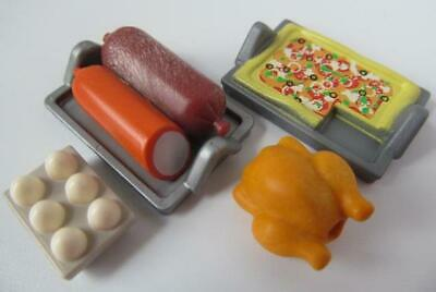 Playmobil Dollshouse/shop/cafe Food: Pizza, Chicken, Sausages & Eggs NEW • 3.99£