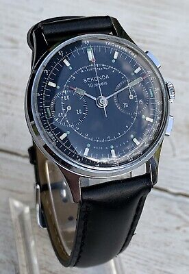 Men's Sekonda/Poljot (Strela) Cal 3017 Black Cosmonaut Watch.Excellent Condition • 685£