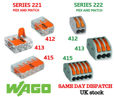 £1.99 • Buy WAGO SERIES 221/222 Electrical Connectors Wire Block Clamp Terminal Cable 2,3,5