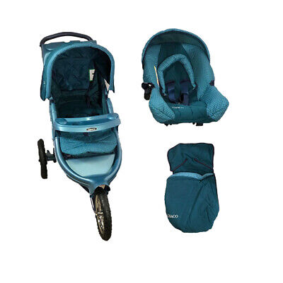 Graco 3 Wheeler Travel System With Car Seat, Footmuff And Raincover • 139.99£