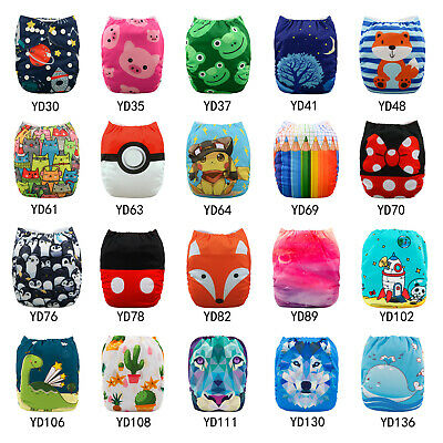 AU8.59 • Buy ALVA Baby Cloth Nappies Printing Adjustable Reusable Pocket Diapers Cover 3-15KG