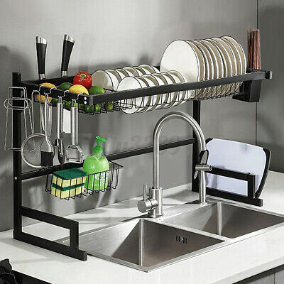 AU69.69 • Buy Dish Drying Rack Stainless Steel Over The Sink Kitchen Drainer Shelf Organizer
