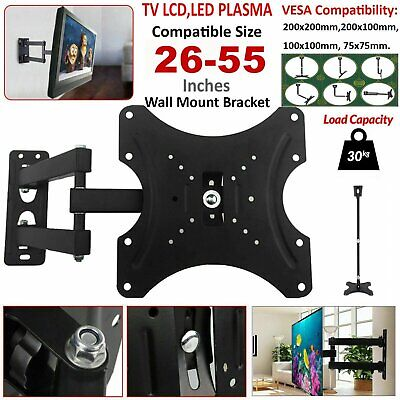 26-55  LCD LED TV PC Monitor Wall Mount Bracket Corner Tilt Swivel VESA 200x200 • 10.49£