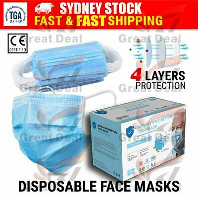 AU24.85 • Buy 4 Layer TGA Disposable Airway Protective Face Mask Anti Bacterial Filter
