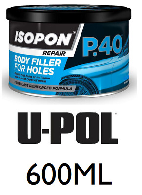 U-Pol David's Isopon P40/S Fibre Glass Body Filler 600ML Very Durable Waterproof • 15.29£