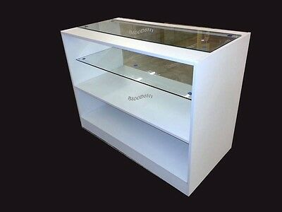 White Glass Shop Counter Shop Display Unit White 1200mm Register Stand Kiosk  • 239.99£