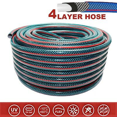 4-LAYER Hosepipe STRONG Garden Hose Pipe REINFORCED Outdoor 1/2  3/4  20 30 50 M • 14.99£
