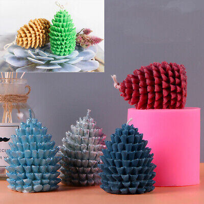 3D XMAS Pine Cone Silicone Cake Fondant Mold Wax Clay Soap Candle Making Mould • 5.54£