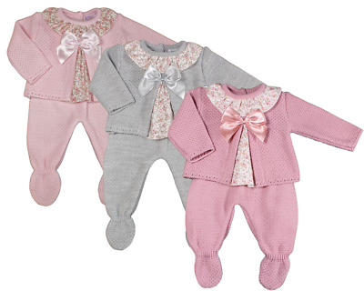 Baby Girl Knitted Outfit Spanish Style BOW Swing Top Leggings • 15.99£