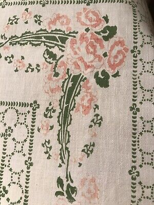 VINTAGE WHITE COTTON TABLECLOTH Flowers & Rose Pattern LACE EDGING Pink Green • 22£